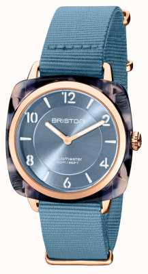 Briston Clubman别致|玫瑰金36毫米蓝色表盘|蓝色北约表带 21536.PRA.UB.25.NIB