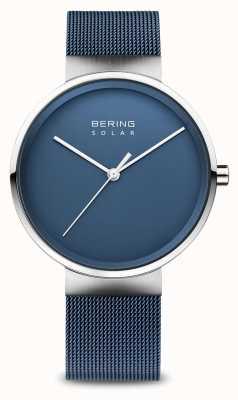 Bering 男士太阳能蓝色网状手链 14339-307