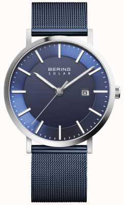 Bering 太阳能男士蓝色表盘日期手表 15439-307