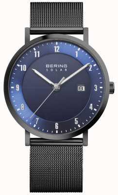 Bering 太阳能男士黑色网眼手链日期手表 15439-327