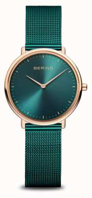 Bering 经典女士绿色和玫瑰金手表 15729-868