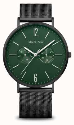 Bering 经典|男装黑色垫子|黑色网眼表带 14240-128