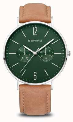 Bering 经典|男装抛光银|棕色皮革表带 14240-608