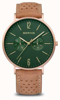 Bering 经典|男装垫玫瑰金|棕色皮革表带 14240-668
