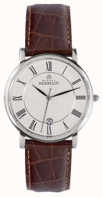 Michel Herbelin 经典 | 38 毫米 |白色表盘|棕色皮表带 12248/08MA