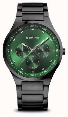 Bering 经典|男装黑色拉丝|绿色表盘 11740-728