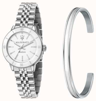 Maserati Successo 太阳能女士手表和手镯礼品套装 R8853145507