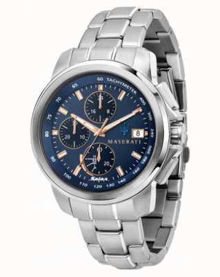 Maserati Successo 太阳能男士蓝色表盘腕表 R8873645004