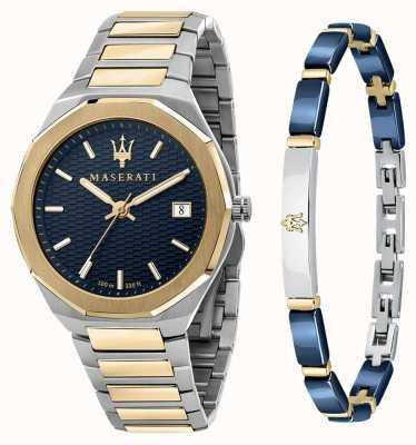 Maserati Stile 3h 男士礼品套装手表和手链 R8853142008