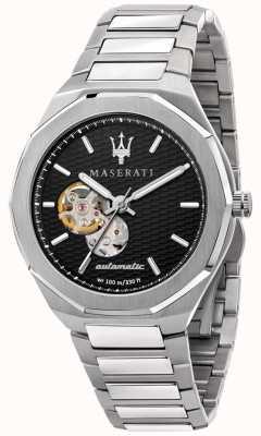 Maserati 男士 stile 自动 |不锈钢手链|黑色表盘 R8823142002