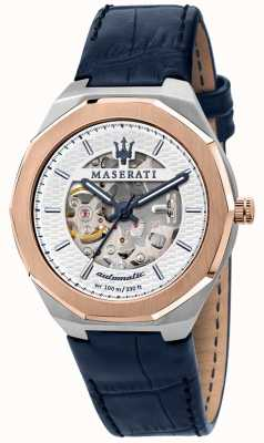 Maserati 男士 stile 自动 |蓝色皮表带|银色镂空表盘 R8821142001