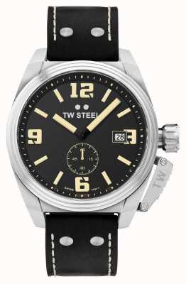 TW Steel 男士食堂黑色皮表带 TW1001