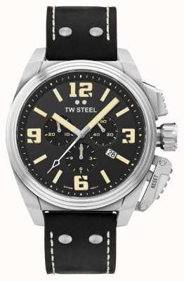 TW Steel Canteen 计时码表黑色皮表带 TW1011
