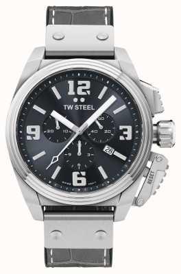 TW Steel Canteen 灰色皮表带腕表 TW1013
