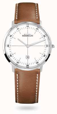 Michel Herbelin 城市石英棕色皮表带白色表盘 19515/12GON