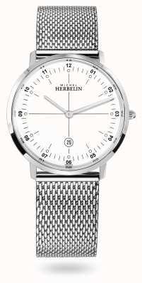 Michel Herbelin City 不锈钢米兰尼斯网状手链白色表盘 19515/12B