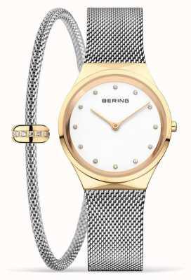 Bering 女士经典抛光金表和手链套装 12131-010-190-GWP1