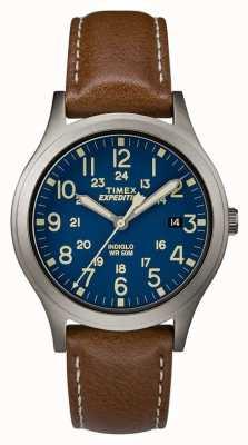 Timex 男士探险侦察员蓝色表盘棕色皮表带腕表 TW4B11100