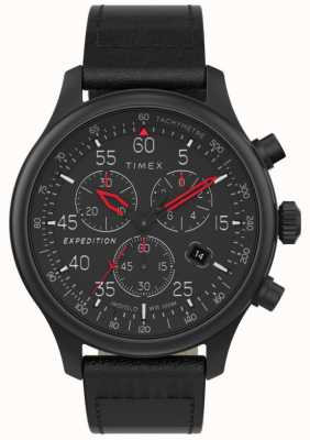 Timex 男士探险野外计时码表黑色表盘腕表 TW2T73000